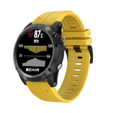 РЕМЕШОК ДЛЯ GARMIN FENIX 5 PLUS 22 MM (СИЛИКОН) QUICKFIT YELLOW (ЖЕЛТЫЙ) 010-70000-61