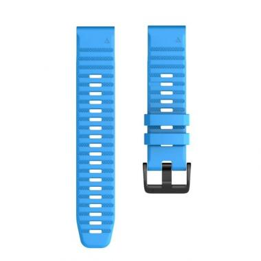 РЕМЕШОК GARMIN FENIX 6X | FENIX 6X PRO | FENIX 6X PRO SOLAR - СИЛИКОНОВЫЙ  26 MM QUICKFIT BLUE (ГОЛУБОЙ) 010-70002-03