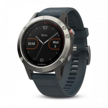 ЧАСЫ GARMIN FENIX 5 SILVER WITH GRANITE BLUE BAND 010-01688-01