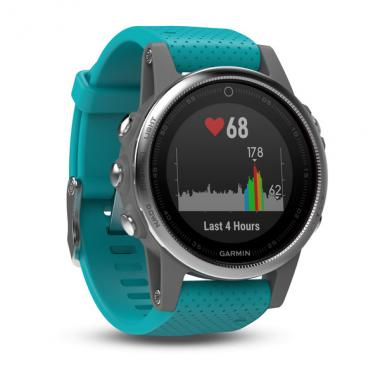ЧАСЫ GARMIN FENIX 5S SILVER WITH TURQUOISE BAND 010-01685-01