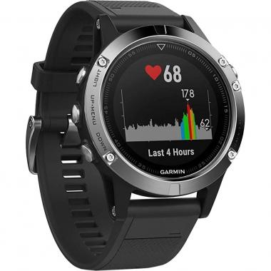 ЧАСЫ GARMIN FENIX 5 SILVER WITH BLACK BAND 010-01688-03
