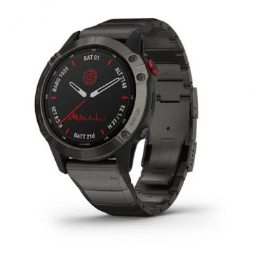 GARMIN FENIX 6 PRO SOLAR TITANIUM CARBON GRAY DLC WITH TITANIUM DLC BAND - 010-02410-23