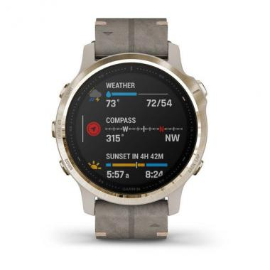 FENIX 6S PRO SOLAR SAPPHIRE EDITIONS LIGHT GOLD TONE WITH SHALE GRAY LEATHER BAND - 010-02409-26