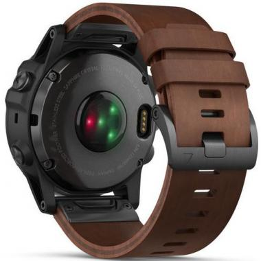ЧАСЫ GARMIN FENIX 5X PLUS SAPPHIRE SLATE GRAY WITH BROWN LEATHER BAND 010-01989-03