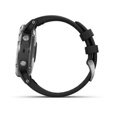 ЧАСЫ GARMIN FENIX 5 PLUS SILVER WITH BLACK BAND 010-01988-11
