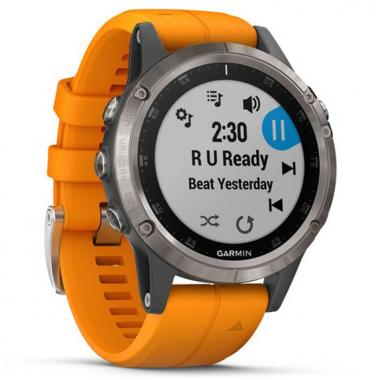 ЧАСЫ GARMIN FENIX 5 PLUS SAPPHIRE TITANIUM WITH SOLAR FLARE ORANGE BAND 010-01988-05