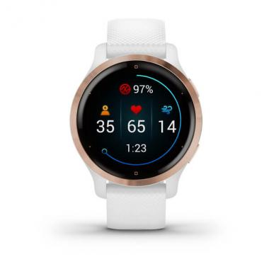 ЧАСЫ GARMIN VENU 2S ROSE GOLD BEZEL WITH WHITE CASE AND SILICONE BAND 010-02429-13